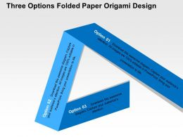 Three Options Folded Paper Origami Design Flat Powerpoint Design