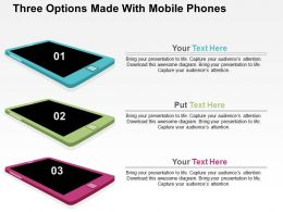 Three Options Made With Mobile Phones Flat Powerpoint Design