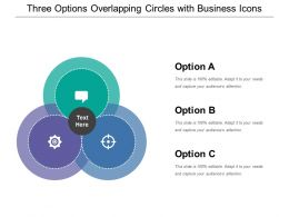 Three Options Overlapping Circles With Business Icons