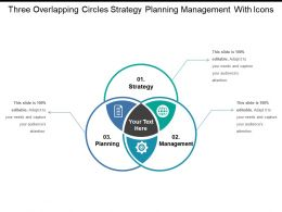 Three Overlapping Circles Strategy Planning Management With Icons