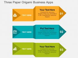 Three Paper Origami Business Apps Flat Powerpoint Design