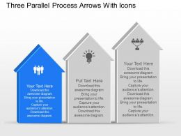 Three Parallel Process Arrows With Icons Powerpoint Template Slide