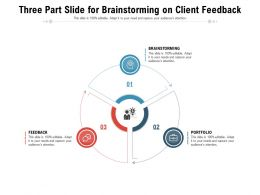 Three Part Slide For Brainstorming On Client Feedback