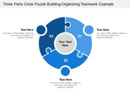Three Parts Circle Puzzle Building Organizing Teamwork Example