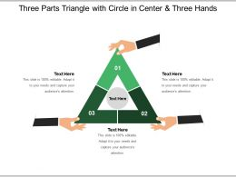 Three Parts Triangle With Circle In Center And Three Hands