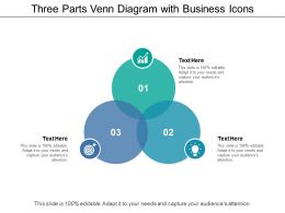 Three Parts Venn Diagram With Business Icons
