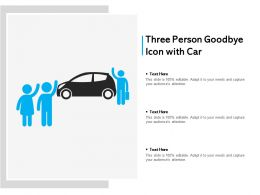 Three Person Goodbye Icon With Car
