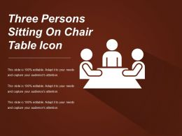 Three Persons Sitting On Chair Table Icon