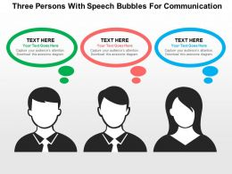 three_persons_with_speech_bubbles_for_communication_flat_powerpoint_design_Slide01