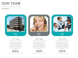 Three Photo Tags For Team And Customer Service Management Powerpoint Slides