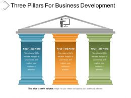 Three Pillars For Business Development Powerpoint Templates