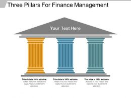 Three Pillars For Finance Management Powerpoint Graphics