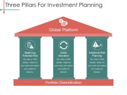 Three Pillars For Investment Planning Powerpoint Slides