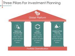 Three Pillars For Investment Planning Powerpoint Slides