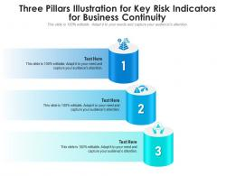 Three Pillars Illustration For Key Risk Indicators For Business Continuity Infographic Template