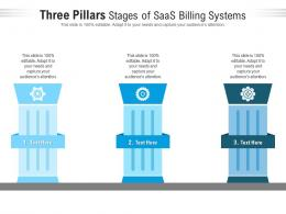 Three Pillars Stages Of Saas Billing Systems Infographic Template