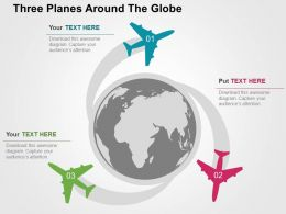 Three Planes Around The Globe Flat Powerpoint Design