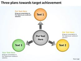 three plans towards target achievement Circular Spoke Diagram PowerPoint Slides