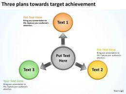 three plans towards target achievement Circular Spoke Diagram PowerPoint Slides