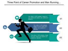 Three Point Of Career Promotion And Man Running With Briefcase Graphic