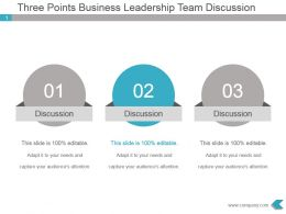 Three Points Business Leadership Team Discussion Ppt Diagram