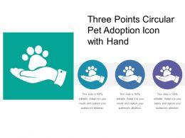 Three Points Circular Pet Adoption Icon With Hand