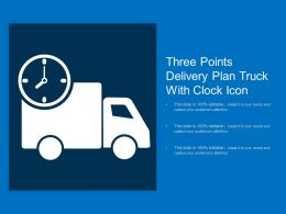 Three Points Delivery Plan Truck With Clock Icon