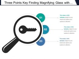 Three Points Key Finding Magnifying Glass With Key Icon