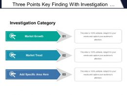 Three Points Key Finding With Investigation Category Market Growth And Tread