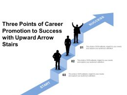 Three Points Of Career Promotion To Success With Upward Arrow Stairs