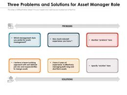Three Problems And Solutions For Asset Manager Role