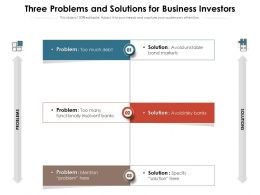 Three Problems And Solutions For Business Investors