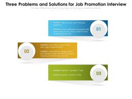 Three Problems And Solutions For Job Promotion Interview