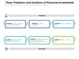 Three Problems And Solutions Of Financial Investments