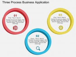 Three Process Business Application Flat Powerpoint Design
