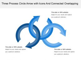 Three Process Circle Arrow With Icons And Connected Overlapping