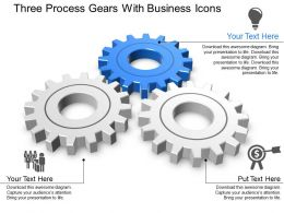 Three Process Gears With Business Icons Powerpoint Template Slide