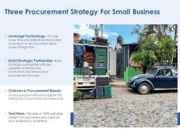 Three Procurement Strategy For Small Business