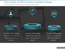 Three Products List With Description Presentation Examples