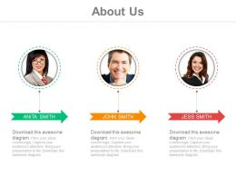 Three Professionals For Business About Us Details Powerpoint Slides