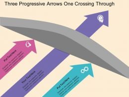 Three Progressive Arrows One Crossing Through Flat Powerpoint Design