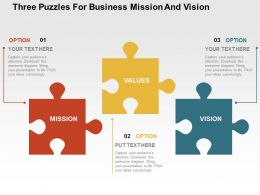 Three Puzzles For Business Mission And Vision Flat Powerpoint Design