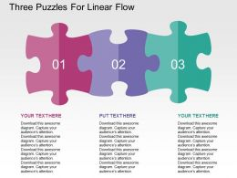 Three Puzzles For Linear Flow Flat Powerpoint Design