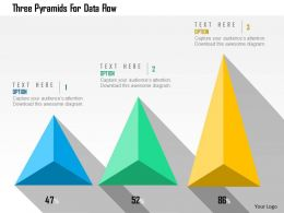 Three Pyramids For Data Flow Flat Powerpoint Design