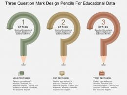 Three Question Mark Design Pencils For Educational Data Flat Powerpoint Design