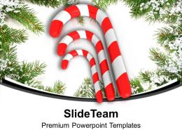Three Red Candy Cane On Beautiful Background PowerPoint Templates PPT Backgrounds For Slides 0113
