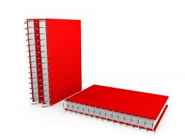 Three Red Colored Notebooks For Education Stock Photo