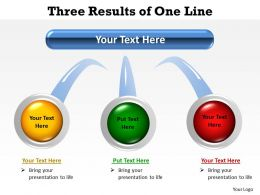 three results of one line shown by circles with insertable images buttons powerpoint templates 0712