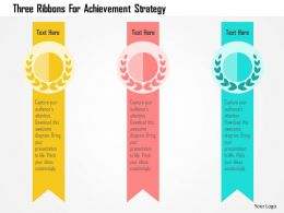 Three Ribbons For Achievement Strategy Flat Powerpoint Design