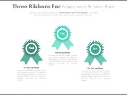 Three Ribbons For Achievement Success Rank Powerpoint Slides